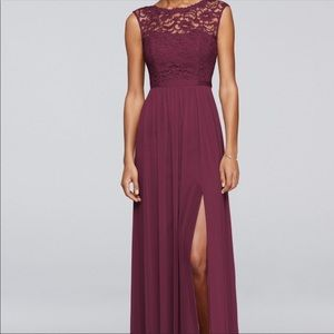 David's bridal bridesmaid dress style F19328 wine